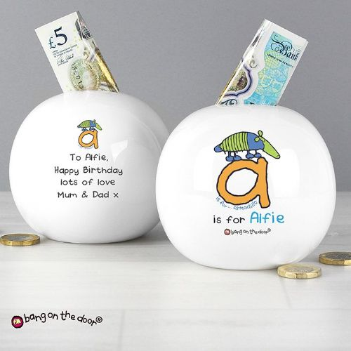 Personalised Bang On The Door Animal Alphabet Boys Money Box